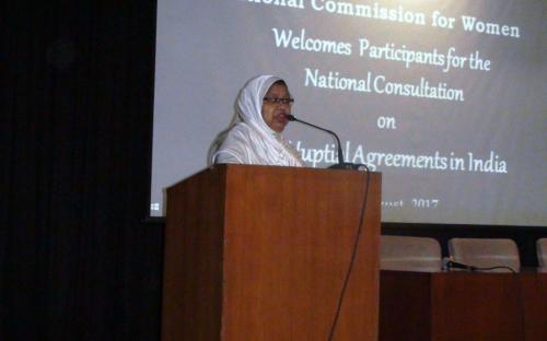 Ms. Shaista Amber, President, All India Muslim Women Personal Law Board presenting her views on the issue