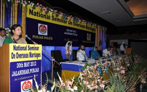 "Hon'ble Member Shamina Shafiq attended the ""National Seminar on Overseas Marriage"" held on 30th May, 2012 at Jalandhar, Punjab"