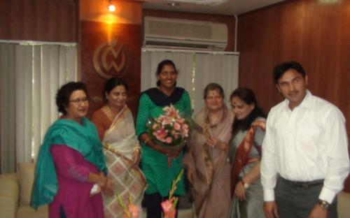 Krishna Poonia, the National Woman discus throw champion and led an Indian clean sweep in the women's discus final by winning the Delhi Commonwealth Games gold medal visited the Commission