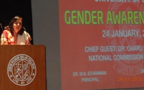 Dr. Charu WaliKhanna, Member NCW was Chief Guest at GENDER AWARENESS CAMP held at Zakir Husain Post graduate Evening College, University of Delhi