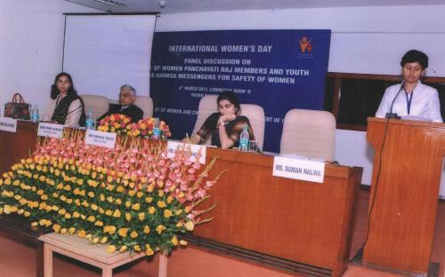 """Dr Charu WaliKhanna Member NCW was Panelist in discussion on """"Role of Women Panchayati Raj Members in the Safety of Women"""" on Women's Day"""