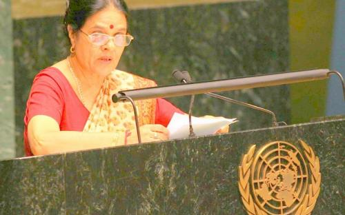 Dr. Girija Vyas, Chairperson,NCW addressing the UN Assembly