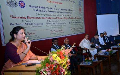 """Ms. Shamina Shafiq, Member, NCW was the chief guest at a seminar organised by MIT, Pune on """"Increasing harassment and violations of women's rights, problems and solutions'"""