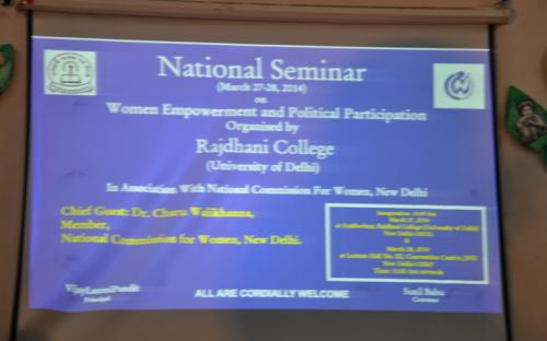 Dr. Charu WaliKhanna, Member, NCW was Chief Guest at National Seminar on ''Women Empowerment and Political Participation' at New Delhi