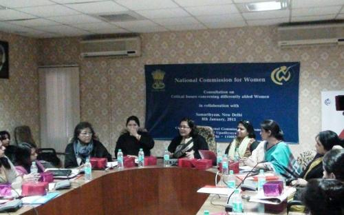 """The Commission organized a consultation on """"Critical issues concerning differently abled women in collaboration with Samarthyam, New Delhi on 6th January, 2015"""