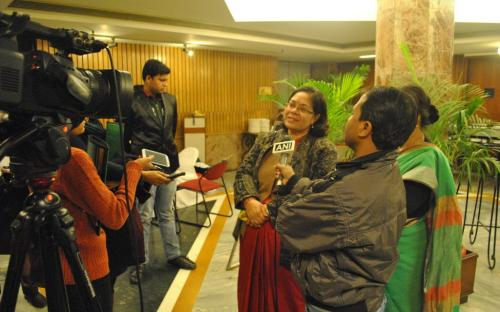 Smt. Lalitha Kumaramangalam, Hon'ble Chairperson, NCW addressing the media during consultation on Voices for Beijing+20