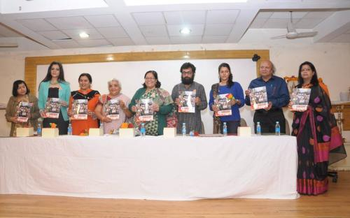 """Smt. Lalitha Kumaramangalam, Hon'ble Chairperson, NCW with other dignitaries releasing the booklet """"JWALA"""""""