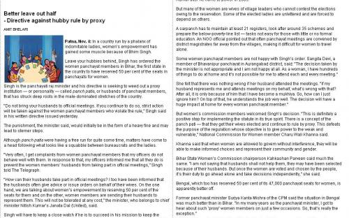 Better leave out half - Directive against hubby rule by proxy - The Telegraph - Calcutta Edition