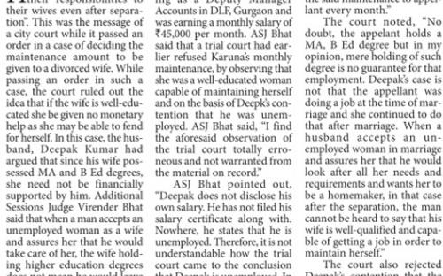 Court asks divorcee to pay maintenance to educated wife. The Pioneer, Delhi Edition