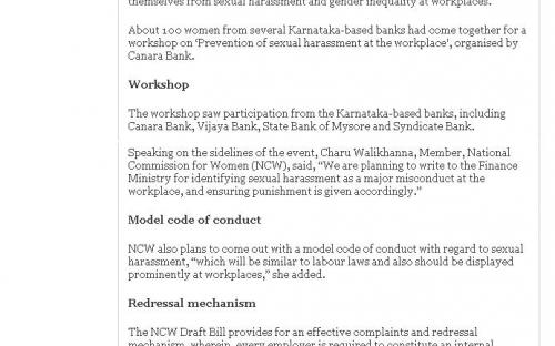 Sexual Harassment at Work Place : Code of Conduct Sonn, The Hindu Bussiness Line, Bangluru Edition