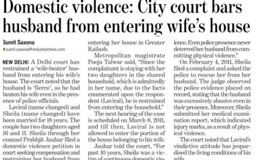 Domestic violence : City court bars husband from  entering wife's house (Hindustan Times, Delhi).