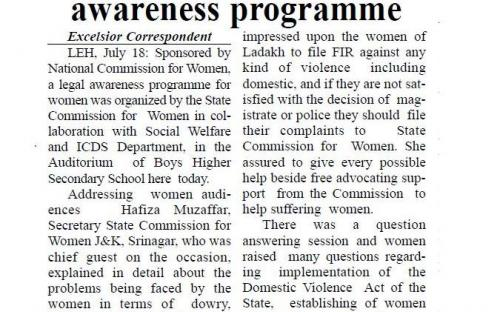 NCW organizes legal awareness programme. (Daily Excelsior, Jammu.)
