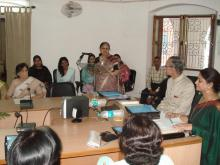 "Member Shamina Shafiq delivered a lecture at a workshop on ""Women Studies – an introduction"" organized by Centre for Women Studies, at Aligarh Muslim University"
