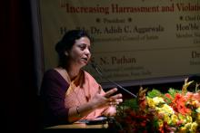 "Ms. Shamina Shafiq, Member, NCW was the chief guest at a seminar organised by MIT, Pune on ""Increasing harassment and violations of women's rights, problems and solutions'"