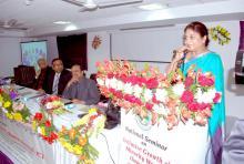 "Ms. Shamina Shafiq, Member, NCW addressing the gathering during seminar on ""Inclusive Growth of Minority Women through ICT"" organized by Khwaja Moinuddin Chishti Urdu, Arabi – Farsi, University"