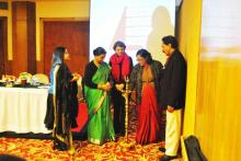 Smt. Lalitha Kumaramangalam, Hon'ble Chairperson, NCW lighting the lamp and inaugurate National Consultation on Voices for Beijing+20