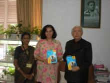 "His Excellency Shri H.R.Bhardwaj, Hon'ble Governor of Karnataka met Dr. Charu Wali Khanna, Member, NCW and Ms. Kareena Thengamam, PRO, NCW during their visit to Bangalore on 16.10.2011, with regard to ""Protection of women against Sexual Harassment at Work Place"""